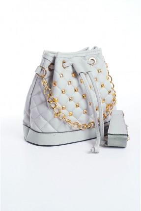 حقيبة يد نسائية مزينة بقطع معدنية - فضي