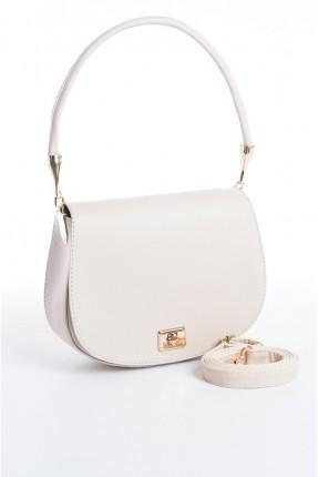 حقيبة يد نسائية مزينة بقفل معدني - بيج
