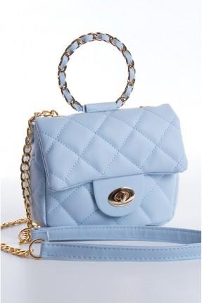 حقيبة يد نسائية مزينة بسلسلة معدنية - ازرق