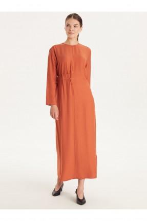 فستان نسائي سادة اللون - برتقالي