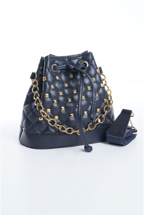 حقيبة يد نسائية مزينة بقطع معدنية - كحلي