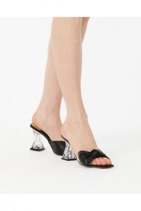 حذاء نسائي مزين بفيونكة - اسود