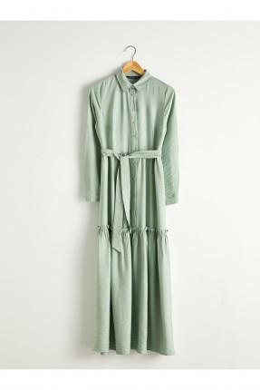 فستان نسائي بربطة عند الخصر - اخضر