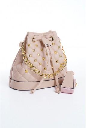 حقيبة يد نسائية مزينة بسلسلة معدنية - زهري