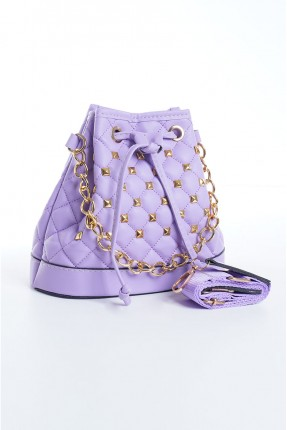 حقيبة يد نسائية مزينة بسلسلة معدنية - موف