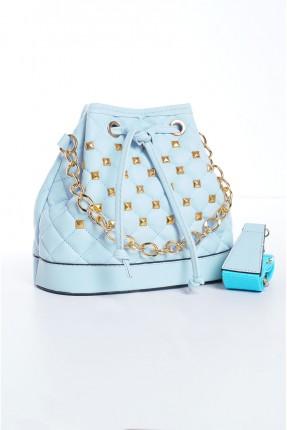 حقيبة يد نسائية مزينة بتفاصيل - ازرق