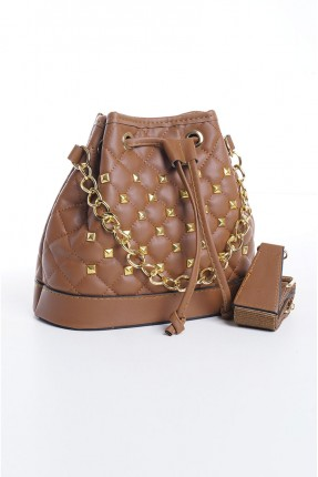 حقيبة يد نسائية مزينة بحبكة - بني