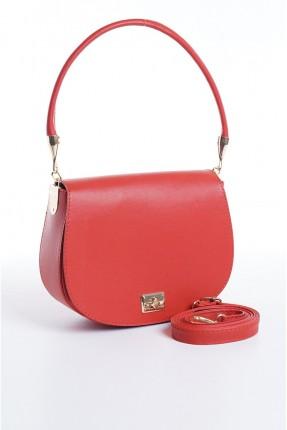 حقيبة يد نسائية مزينة بقفل معدني - احمر