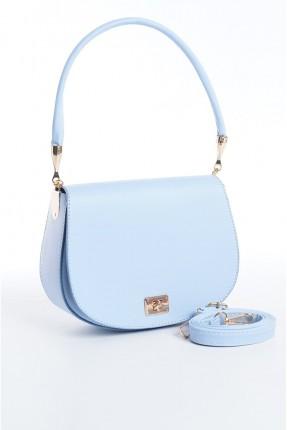 حقيبة يد نسائية مزينة بقفل معدني - ازرق