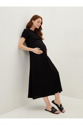 فستان حمل نصف كم - اسود