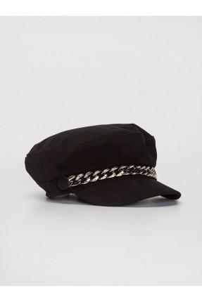 قبعة نسائية جبردين مزينة بسلسلة معدنية - اسود
