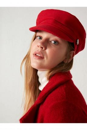 قبعة نسائية سادة اللون - احمر