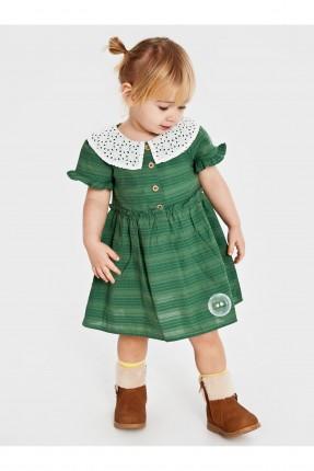فستان بيبي بناتي بنقشة كارو - اخضر