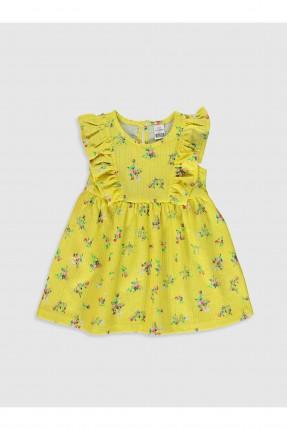 فستان بيبي بناتي بنقشة زهور - اصفر