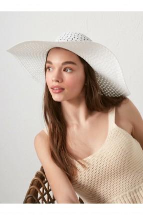 قبعة نسائية دائرية - ابيض