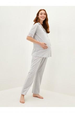 بيجاما حمل سادة اللون - رمادي