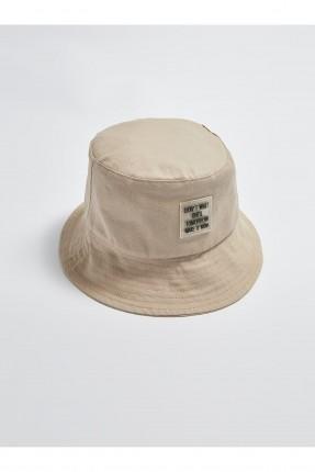 قبعة نسائية بخطوط درزة - بيج