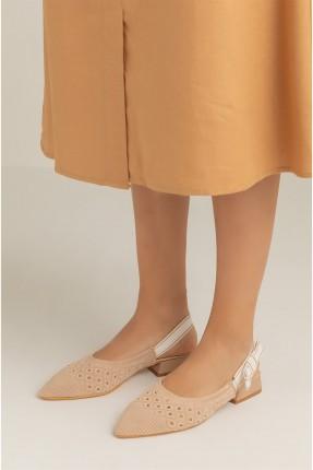 حذاء نسائي مزخرف - بيج