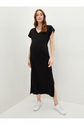 فستان حمل بياقة V - اسود