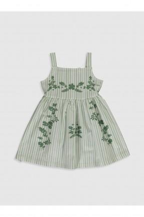 فستان بيبي بناتي مخطط - اخضر