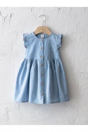 فستان بيبي بناتي مخطط - ازرق