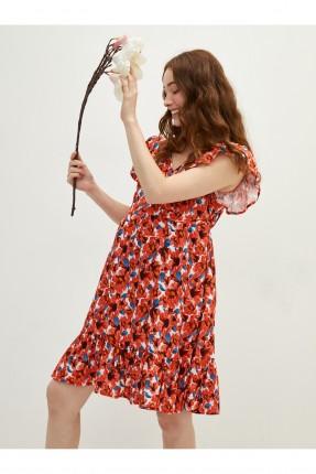 فستان حمل بنقشة زهور - احمر