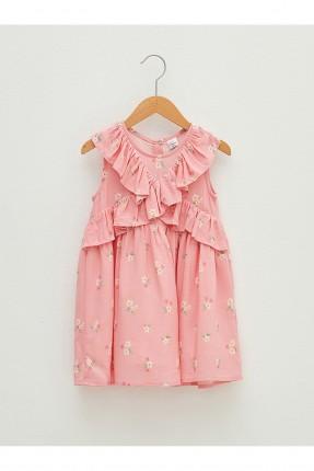 فستان بيبي بناتي مزين بكشكشة - زهري
