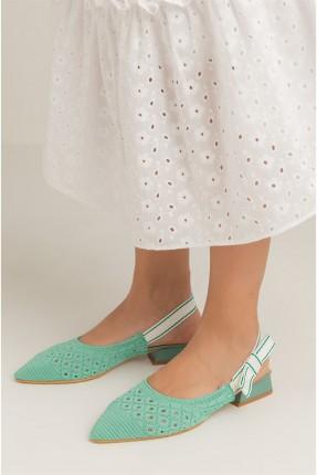 حذاء نسائي مزين بفيونكة - اخضر