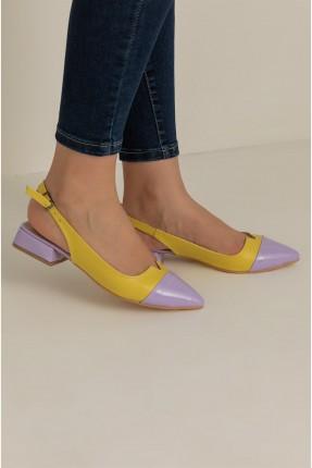 حذاء نسائي مزين ببزيم - اصفر