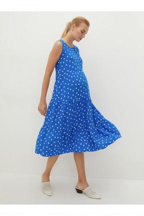 فستان حمل منقط - ازرق