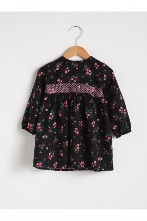 فستان بيبي بناتي باكمام طويلة - اسود
