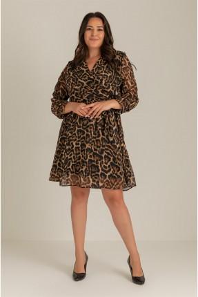 فستان نسائي مزين بنقشة تايغر - بني