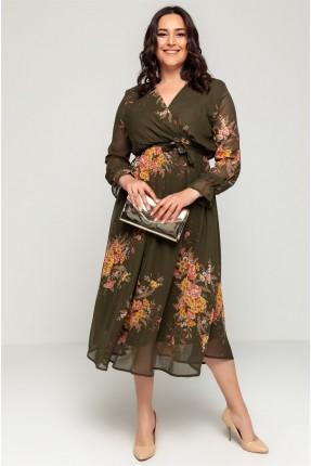 فستان نسائي مزموم الاكمام - زيتي