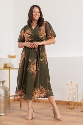 فستان نسائي مزهر - زيتي