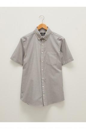 قميص رجالي ريجيولار فيت - رمادي