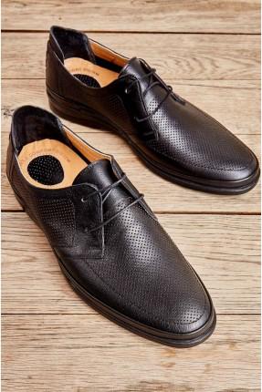 حذاء رجالي بنقشة - اسود