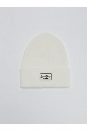 قبعة رجالية تريكو بكتابة - ابيض