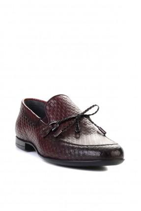حذاء رجالي بنقشة حبكة - خمري
