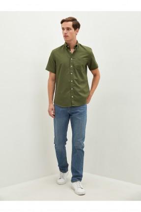 قميص رجالي ريجيولار فيت - اخضر