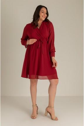 فستان نسائي سادة اللون - خمري