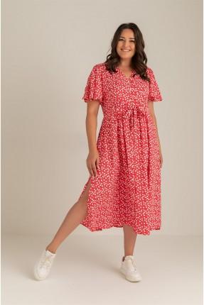 فستان نسائي بربطة عند الخصر - احمر