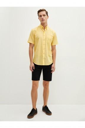 قميص رجالي بوبلين  ريجيولار فيت - اصفر