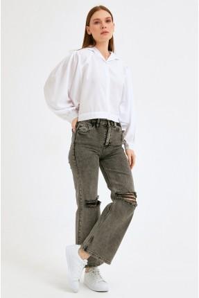 بنطال جينز نسائي ممزق - اسود