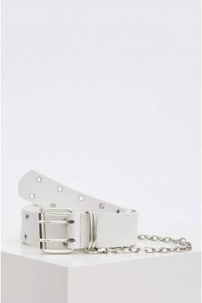 حزام نسائي مزين بسلسلة معدنية - ابيض