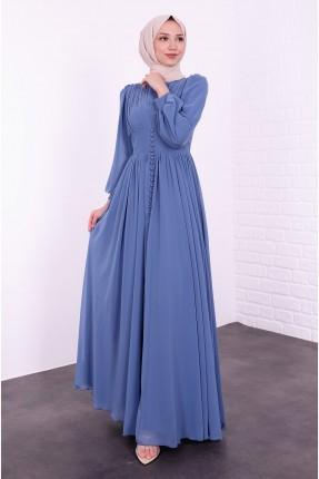 فستان رسمي مزين بتفصيل ازرار - ازرق