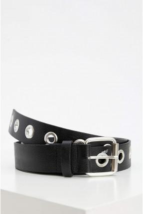 حزام نسائي مزين بحلقات معدنية - اسود