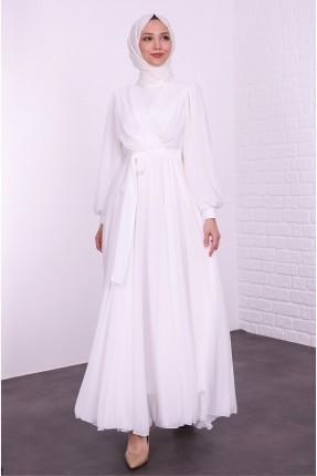 فستان رسمي طويل - ابيض