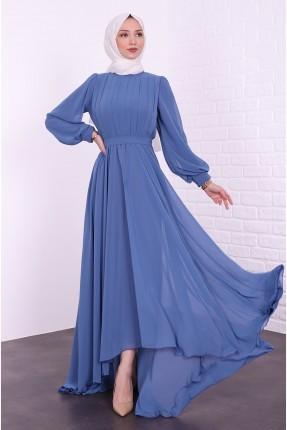 فستان رسمي بتفصيل خطوط - ازرق