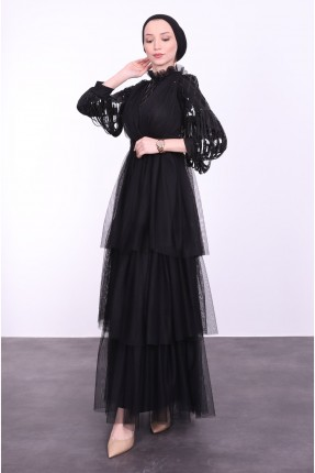 فستان رسمي مزين بتول - اسود
