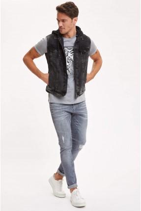 فيست جينز رجالي بازرار معدنية - اسود